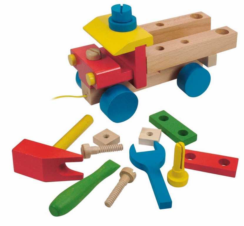 Dřevěné barevné auto Woody - Montážní auto