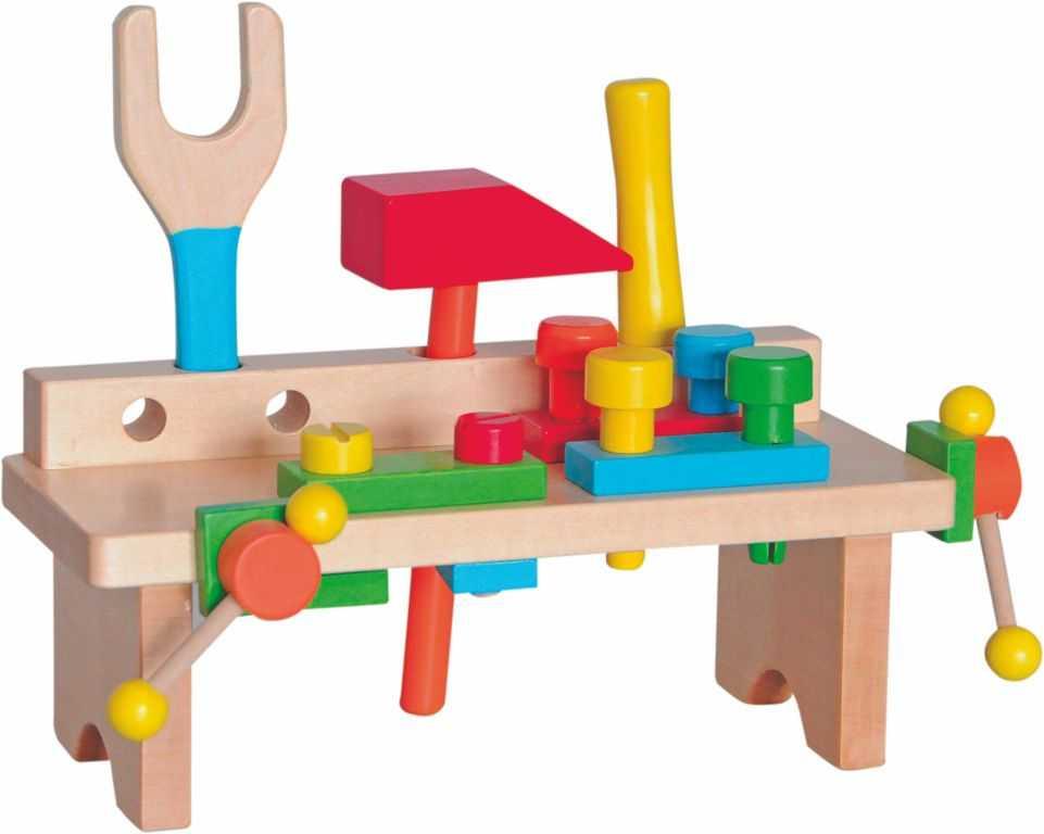 Dřevěné hračky Woody - Pracovní ponk jednoduchý nový design