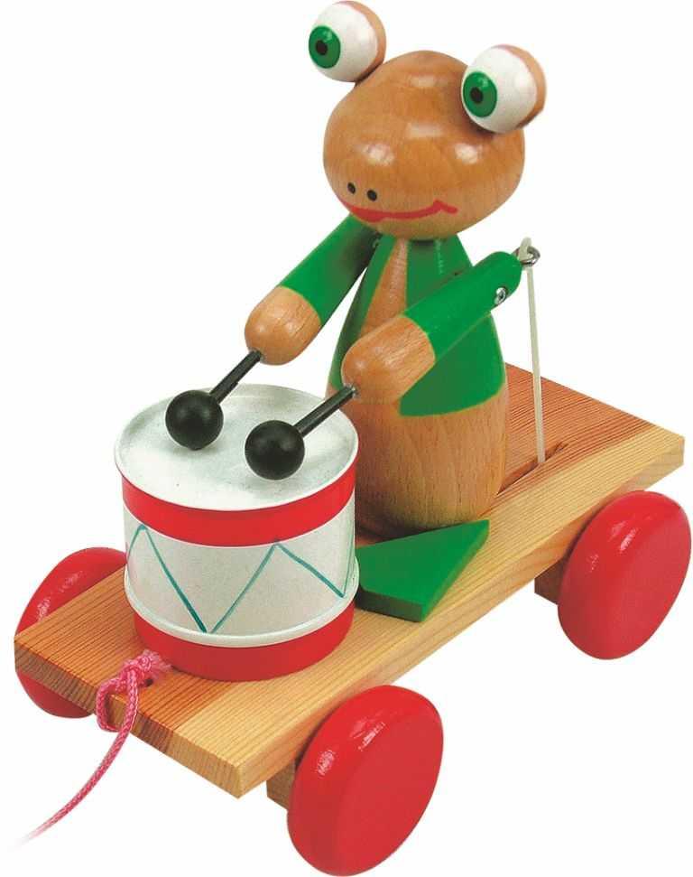 Dřevěné hračky Woody - Tahací žába s bubnem