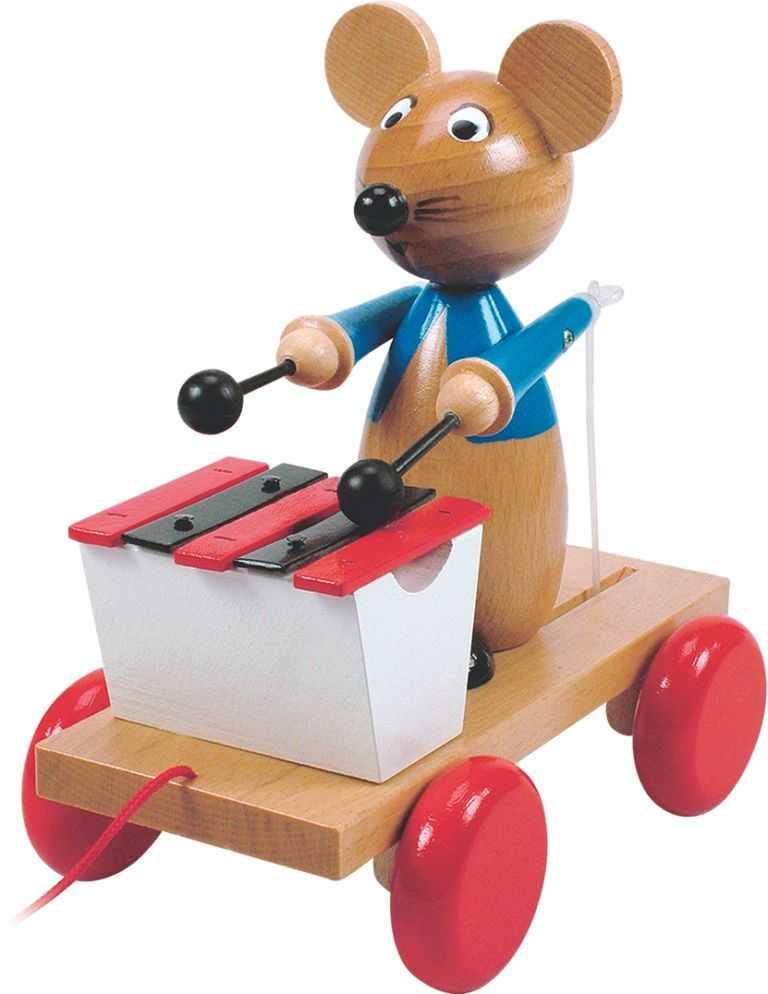 Dřevěné hračky Woody - Tahací myš s xylofonem