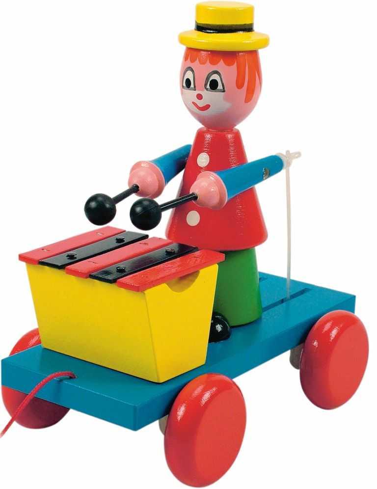Dřevěné hračky Woody - Tahací klaun s xylofonem
