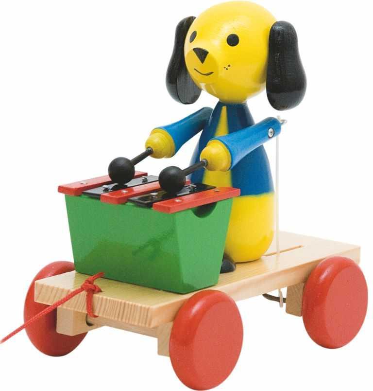 Dřevěné hračky Woody - Tahací pes s xylofonem