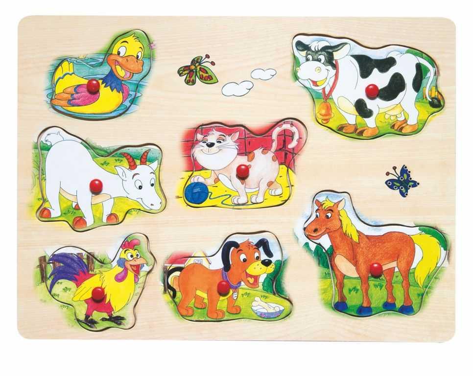 Dřevěné hračky - Muzikální puzzle Domácí zvířata