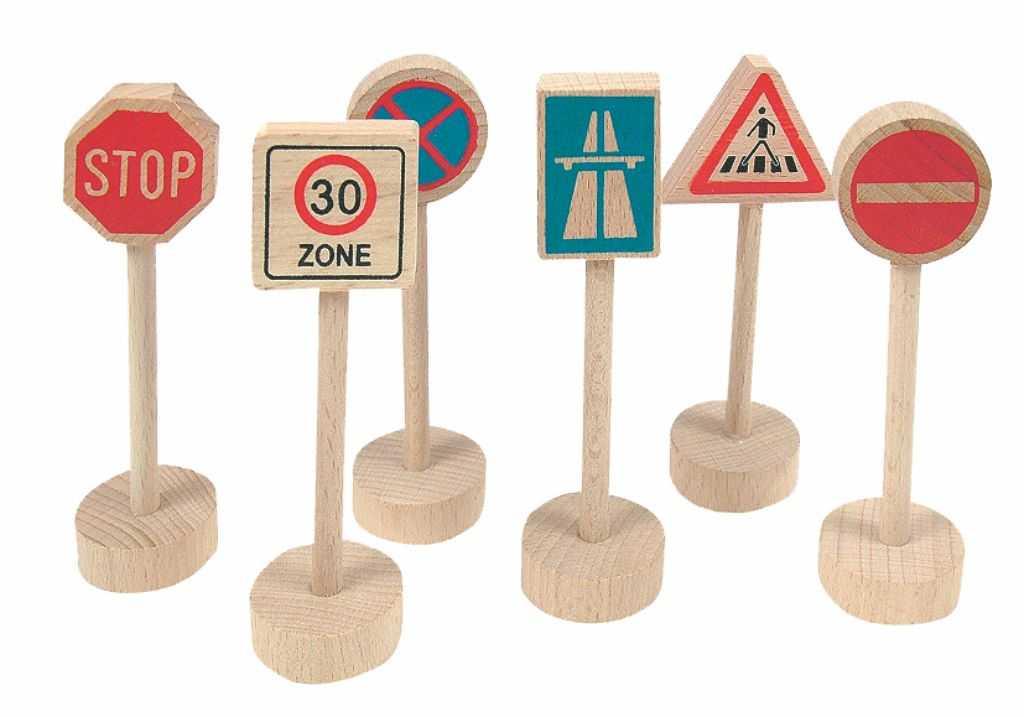 Příslušenství k vláčkodráze Woody - Dopravní značky 6 dílů