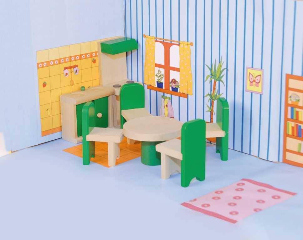 Dřevěné hračky Woody - Nábytek do domečku Kuchyň s jídelnou