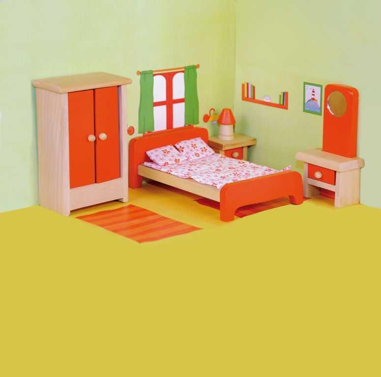 Dřevěné hračky Woody - Nábytek do domečku Ložnice