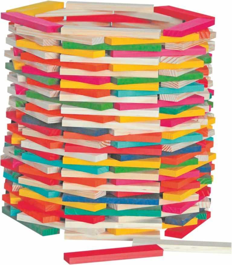 Dřevěné hry - Stavebnice přírodní/barevná - Simona 200ks