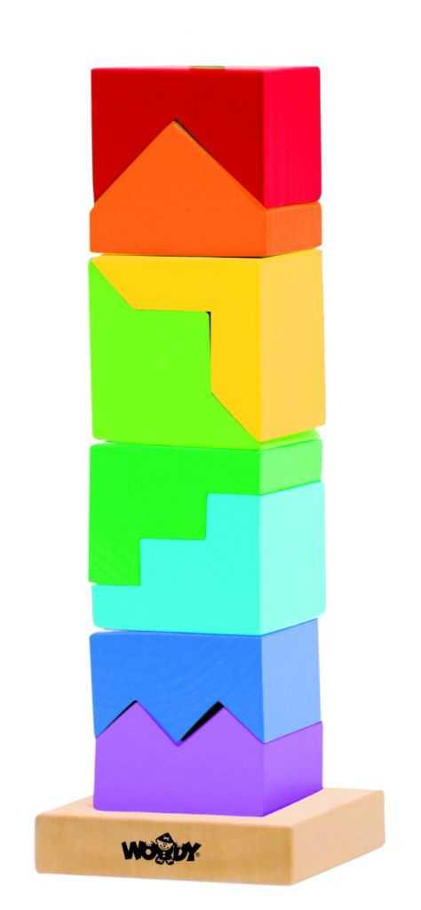 Dřevěné hračky - Woody Skládací věž barevná - hlavolam