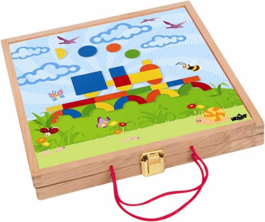 Woody dřevěné hračky - Magnetický kreativní kufřík s tvary