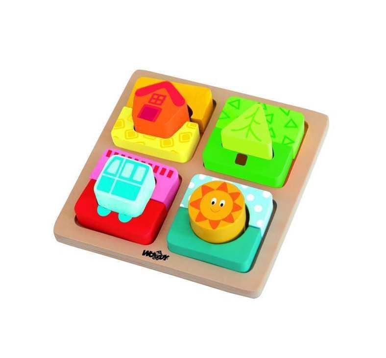 Dřevěné hračky - Destička s puzzle-tvary Slunce domova