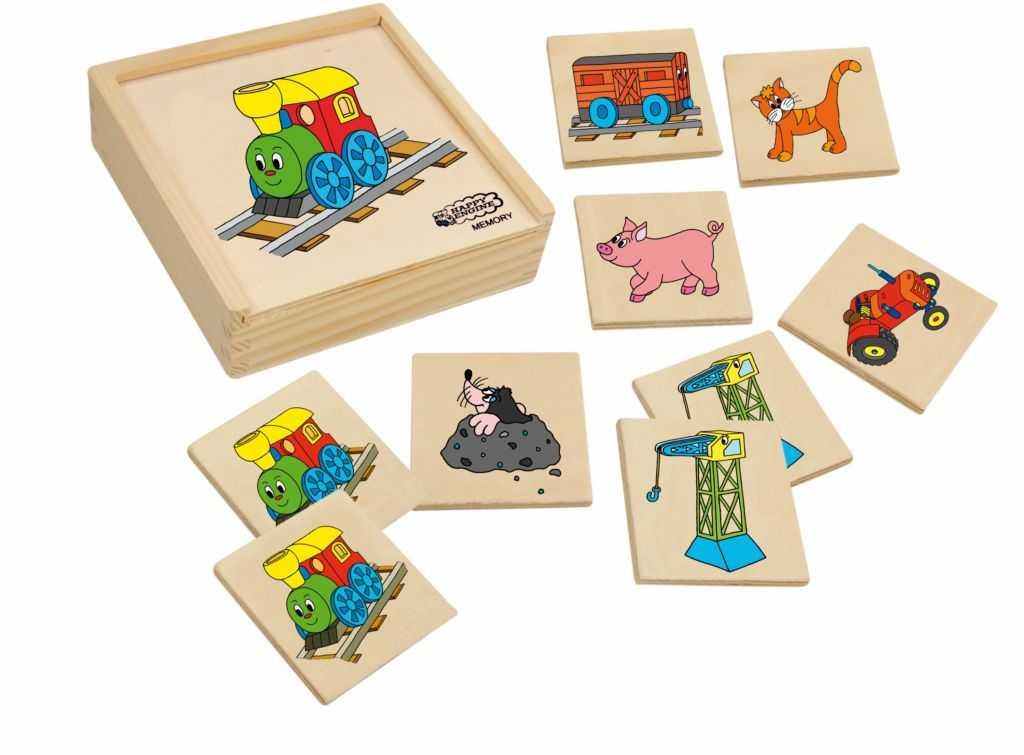 Dřevěné hračky - dřevěné hry - Pexeso Mašinka