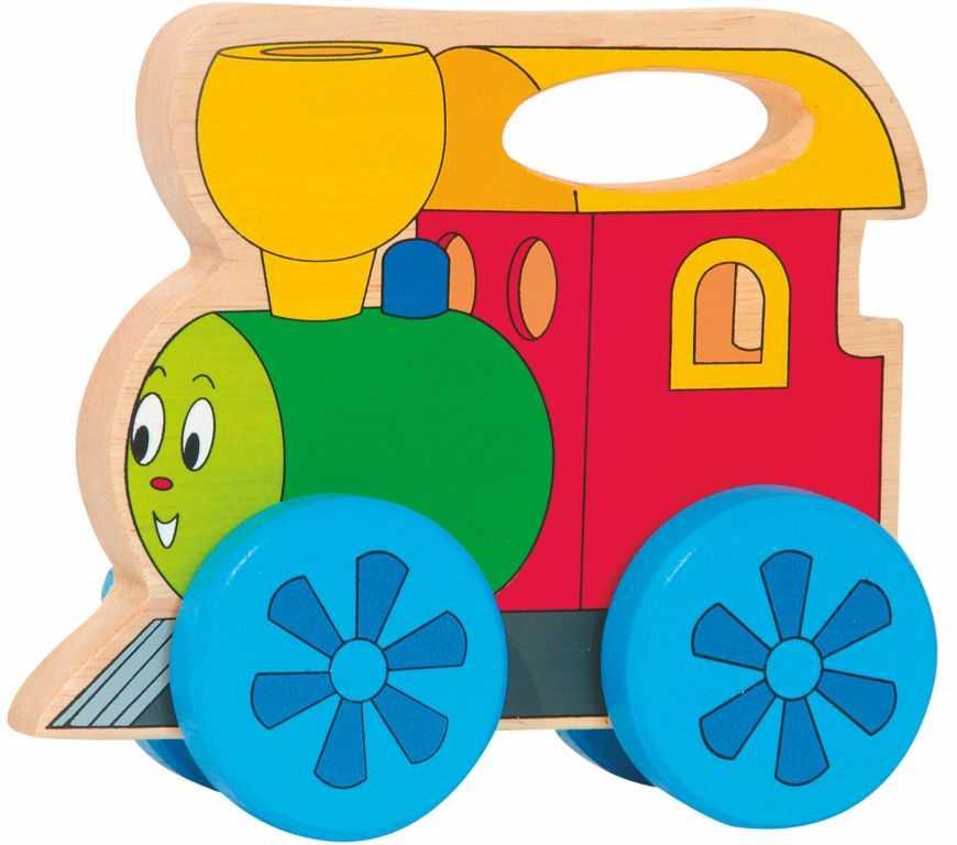 Dřevěné hračky Woody - Mašinka na kolečkách s držadlem