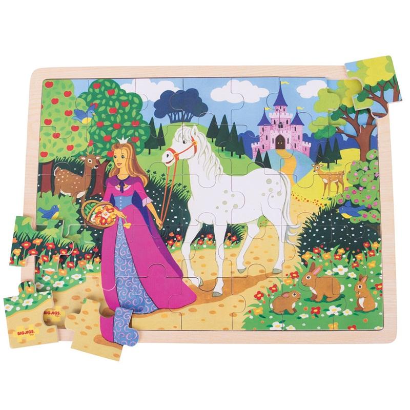 Bigjigs Toys dřevěné puzzle princezna 35 dílků