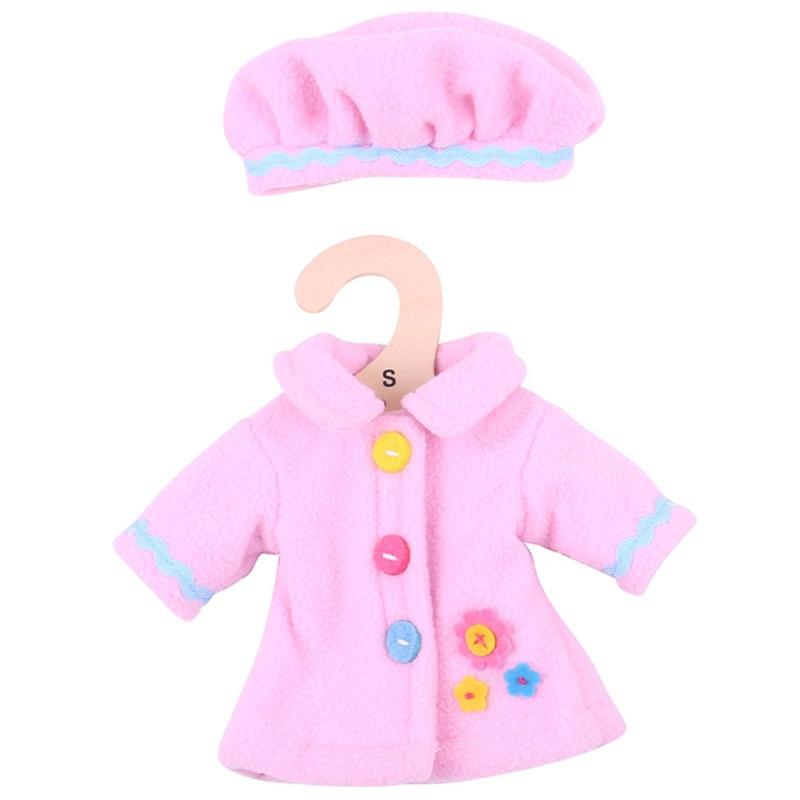 Bigjigs Toys růžový kabátek s čepičkou pro panenku 25 cm