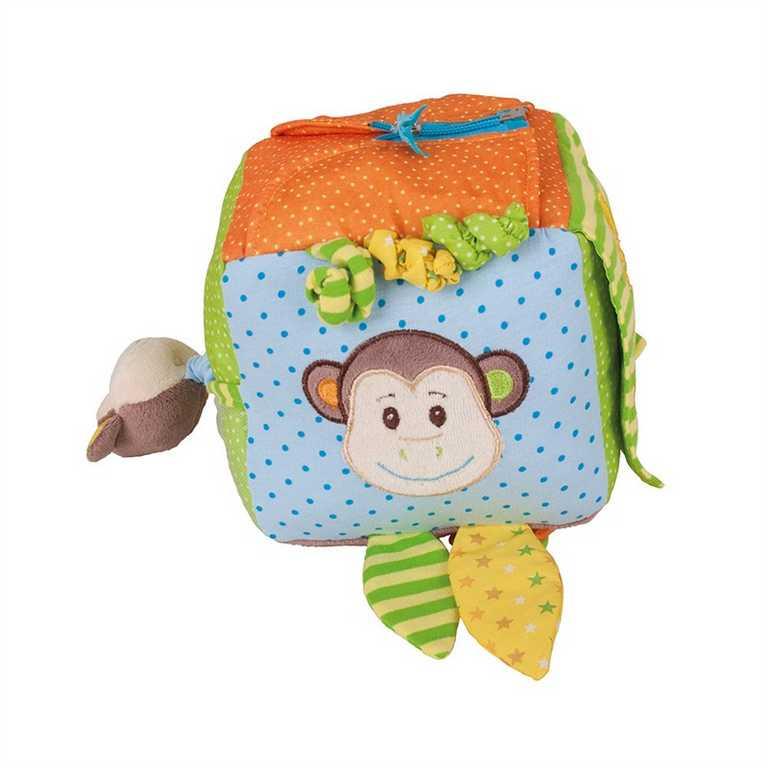 Bigjigs Toys textilní aktivní kostka - Opička Cheeky