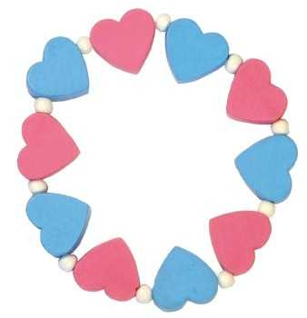 Detoa Dětský náramek s růžovými a modrými srdíčky