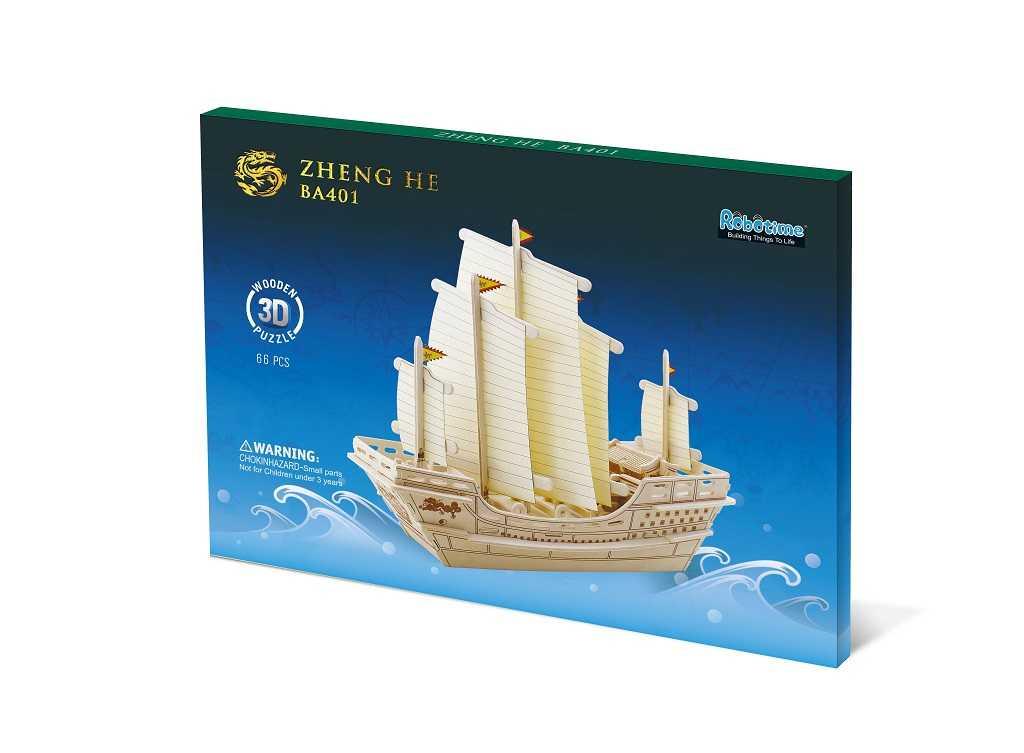 Dřevěné skládačky 3D puzzle - Dřevěný koráb Zhenge