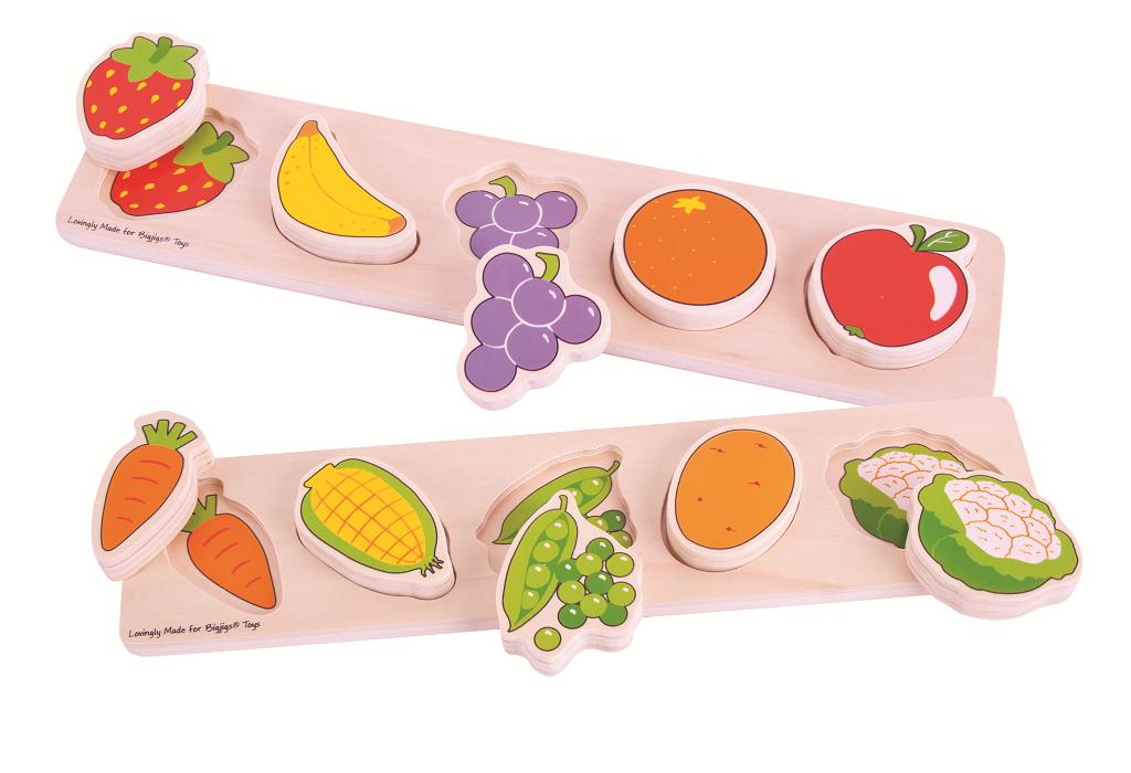 Dřevěné široké vkládací puzzle - Zelenina - tloušťka 2 cm