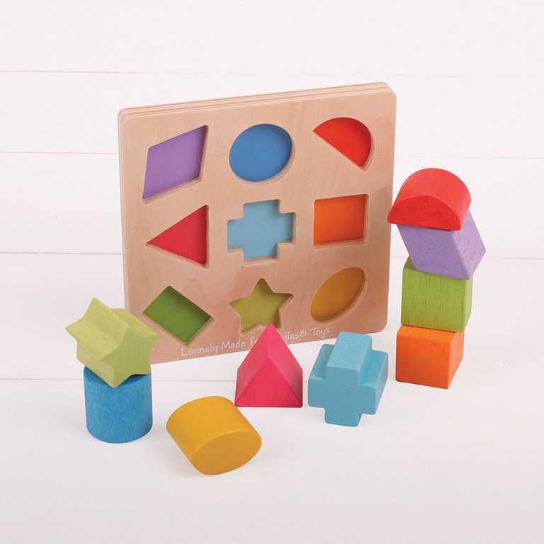 Dřevěná hračka - Dřevěné kostky tvary a barvy
