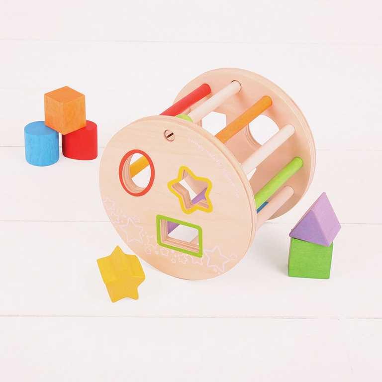 Dřevěná motorická vhazovací hračka - Válec s tvary