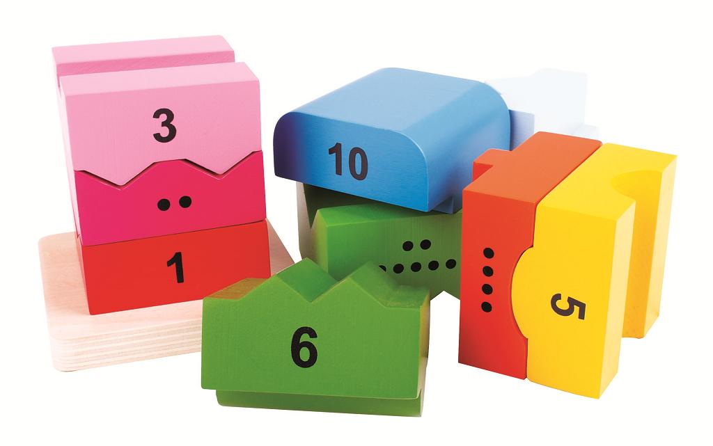 Bigjigs Baby Drevená motorická veža s číslicami