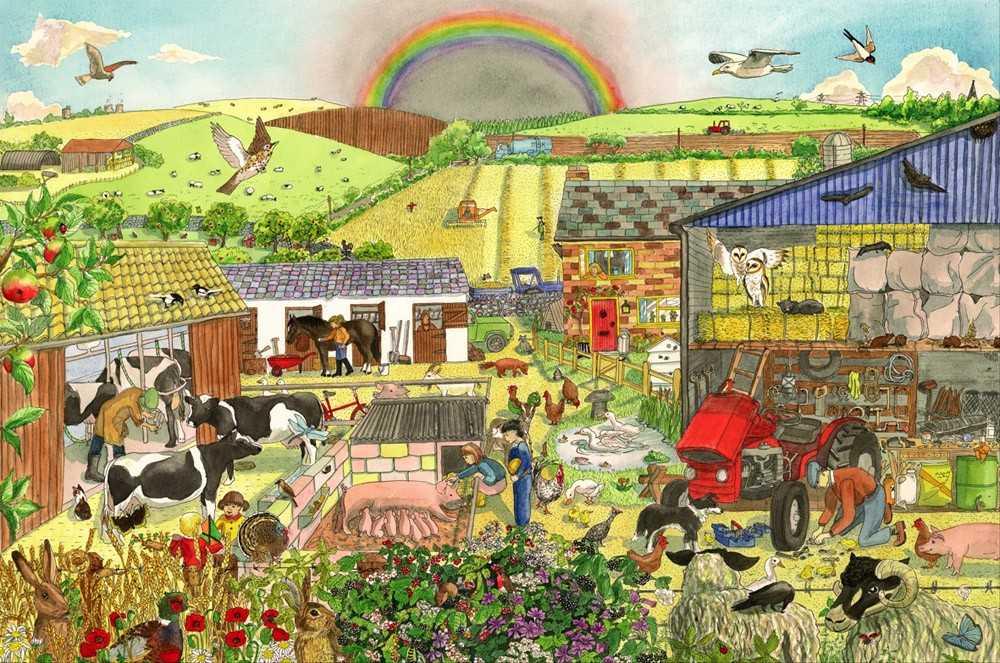 Bigjigs Toys dřevěné hračky - Puzzle farma 96 dílků