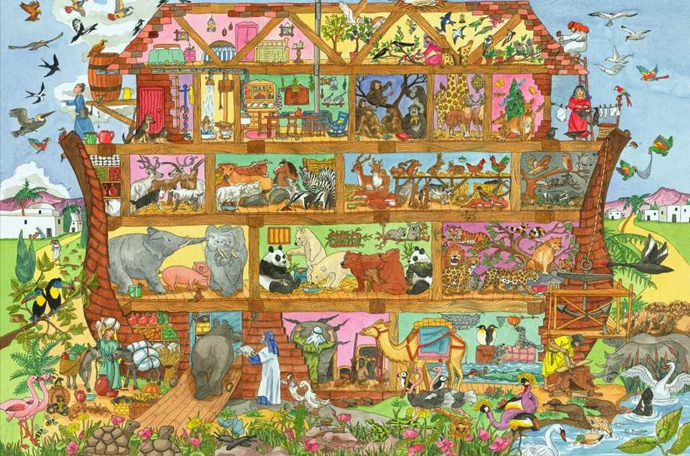 Bigjigs Toys dřevěné hračky - Puzzle Noemova archa 96 dílků