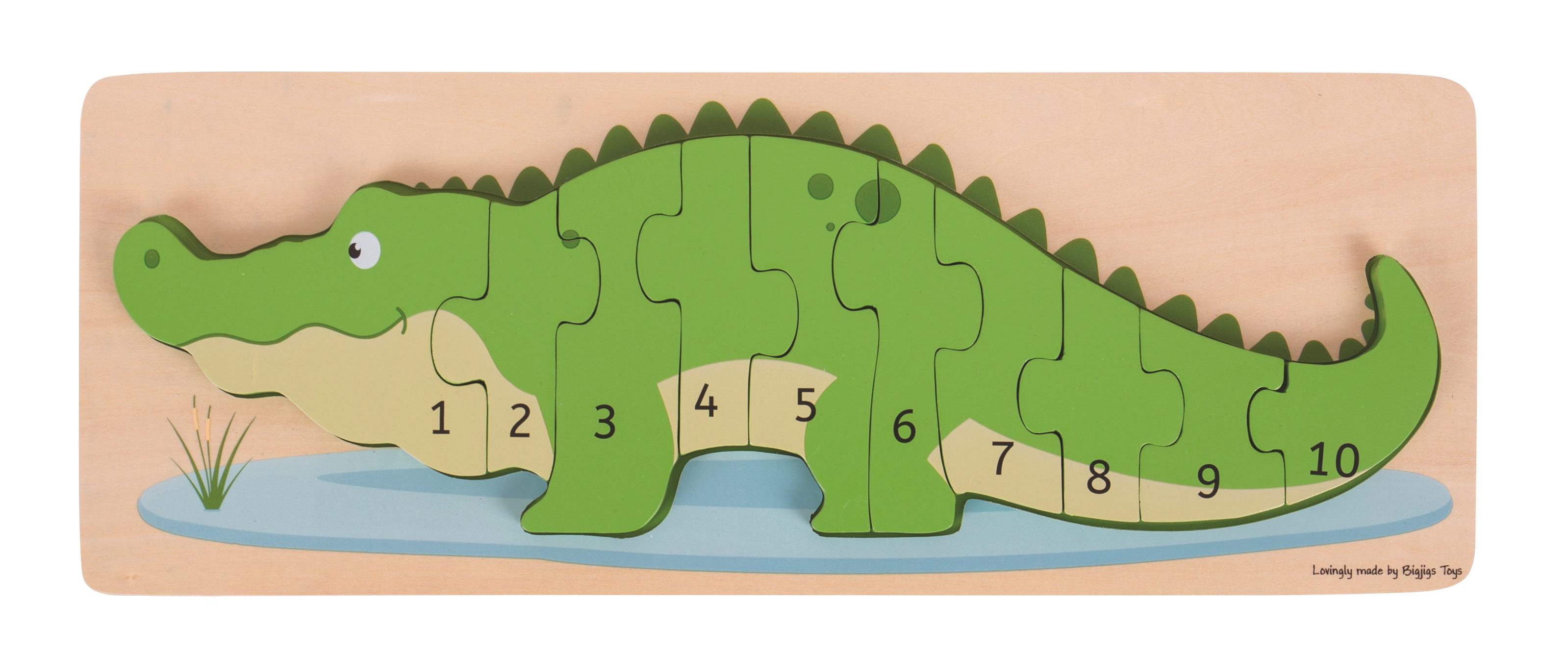Bigjigs Toys vkládací puzzle - Krokodýl s čísly