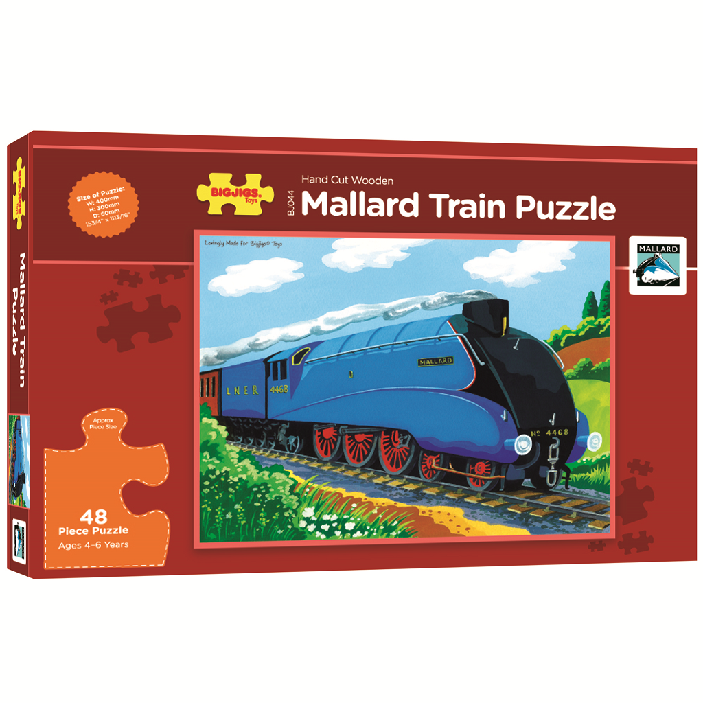 Bigjigs Toys dřevěné puzzle - Vlak Mallard - 48 dílků