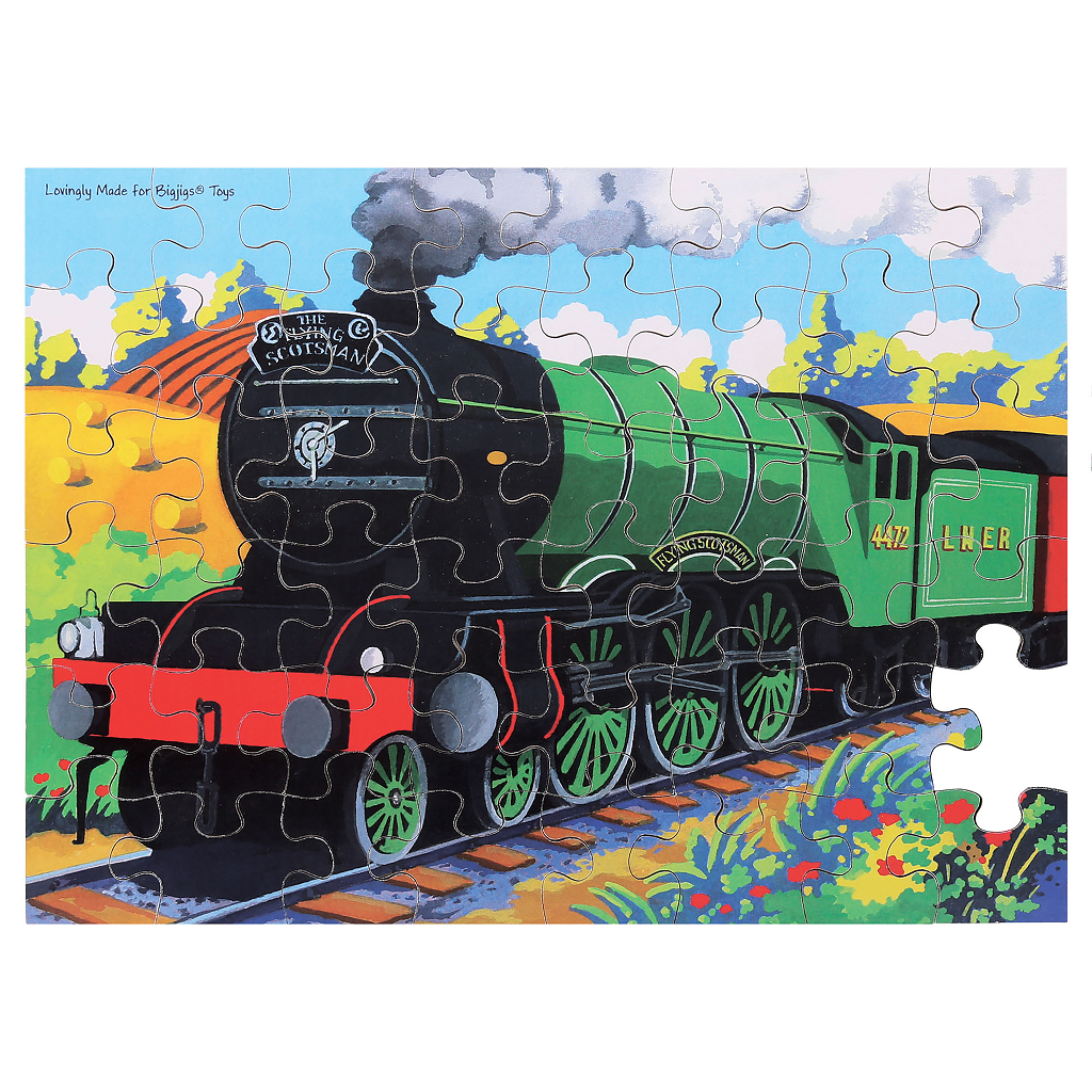 Bigjigs Toys puzzle - Vlak Flying Scotsman  - 48 dílků