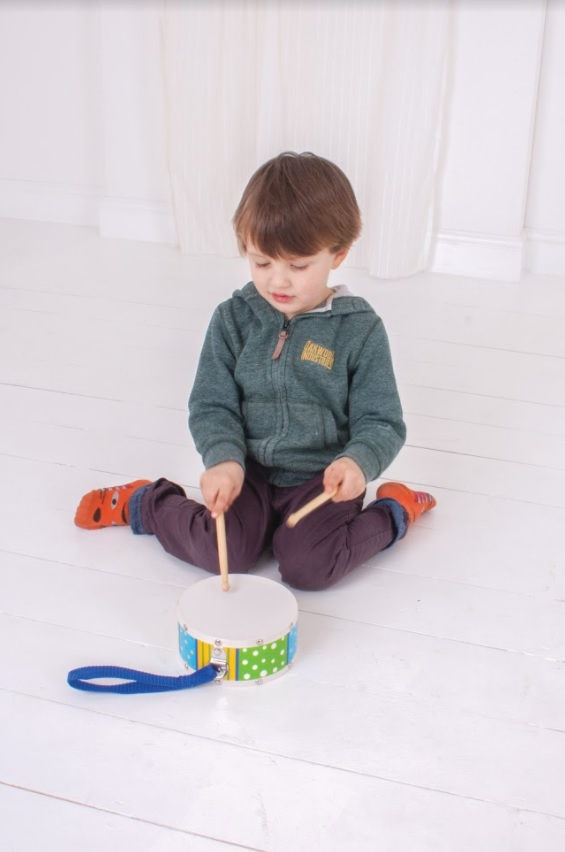 Dětské hudební nástroje - Bubínek červený s paličkama
