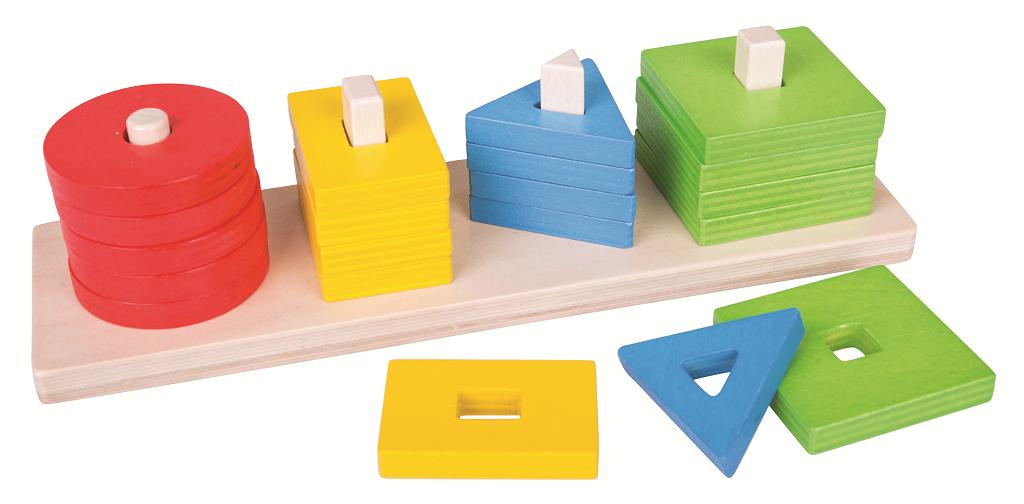 Bigjigs Toys Drevená motorická triediaca doska tvary a farby