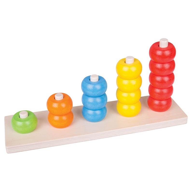 Bigjigs Toys Drevená motorická doska nasadzovacie korálky