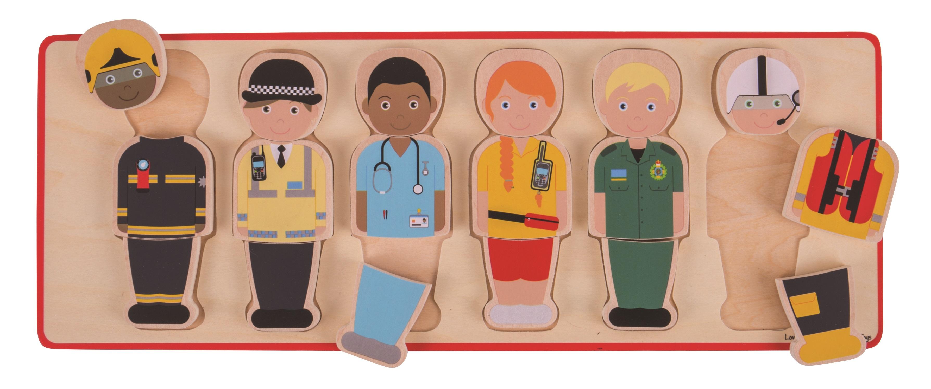Bigjigs Toys vkládací puzzle - Záchranářský tým