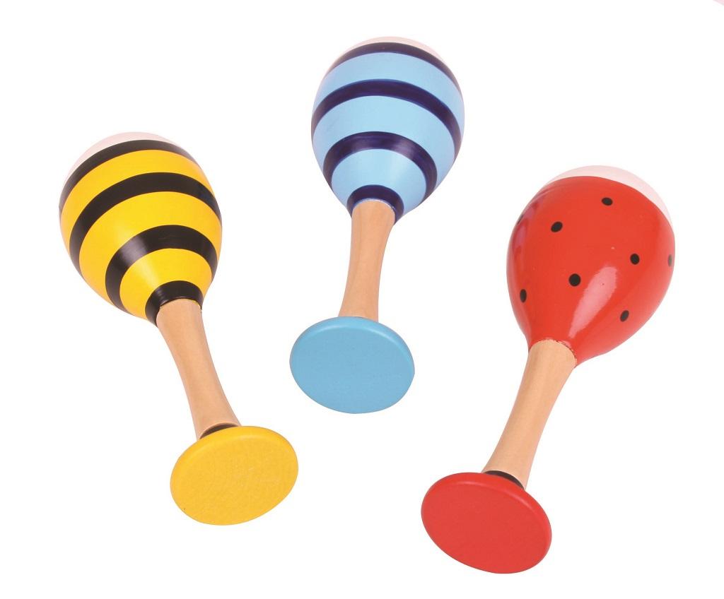 Bigjigs Toys barevné rumbakoule junior zvířáka - 1 pár modrá
