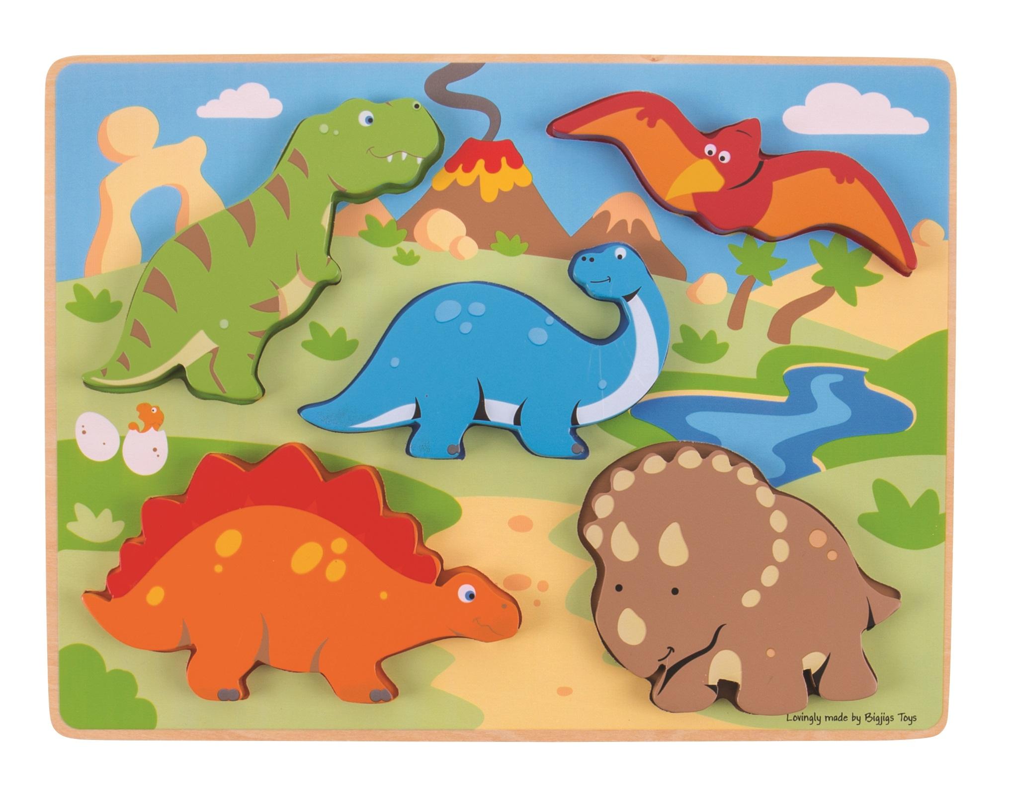 Bigjigs Toys vkládací puzzle - Dinosauři