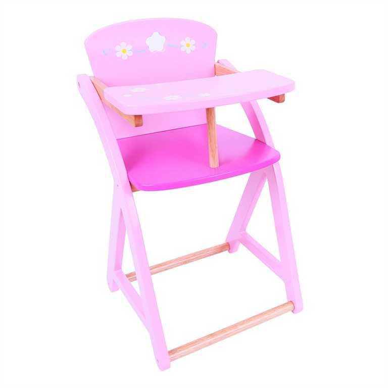Bigjigs Toys dřevěná růžová jídelní stolička pro panenky
