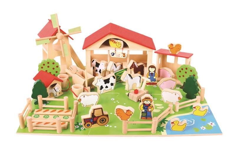 Bigjigs Toys - Velká dřevěná farma