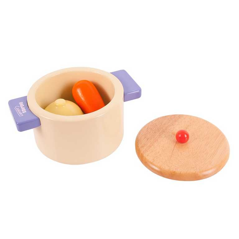 Bigjigs Toys Drevený hrniec so zeleninou