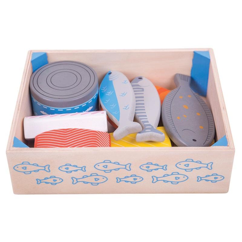 Bigjigs Toys Dřevěné potraviny Mořské plody v krabičce