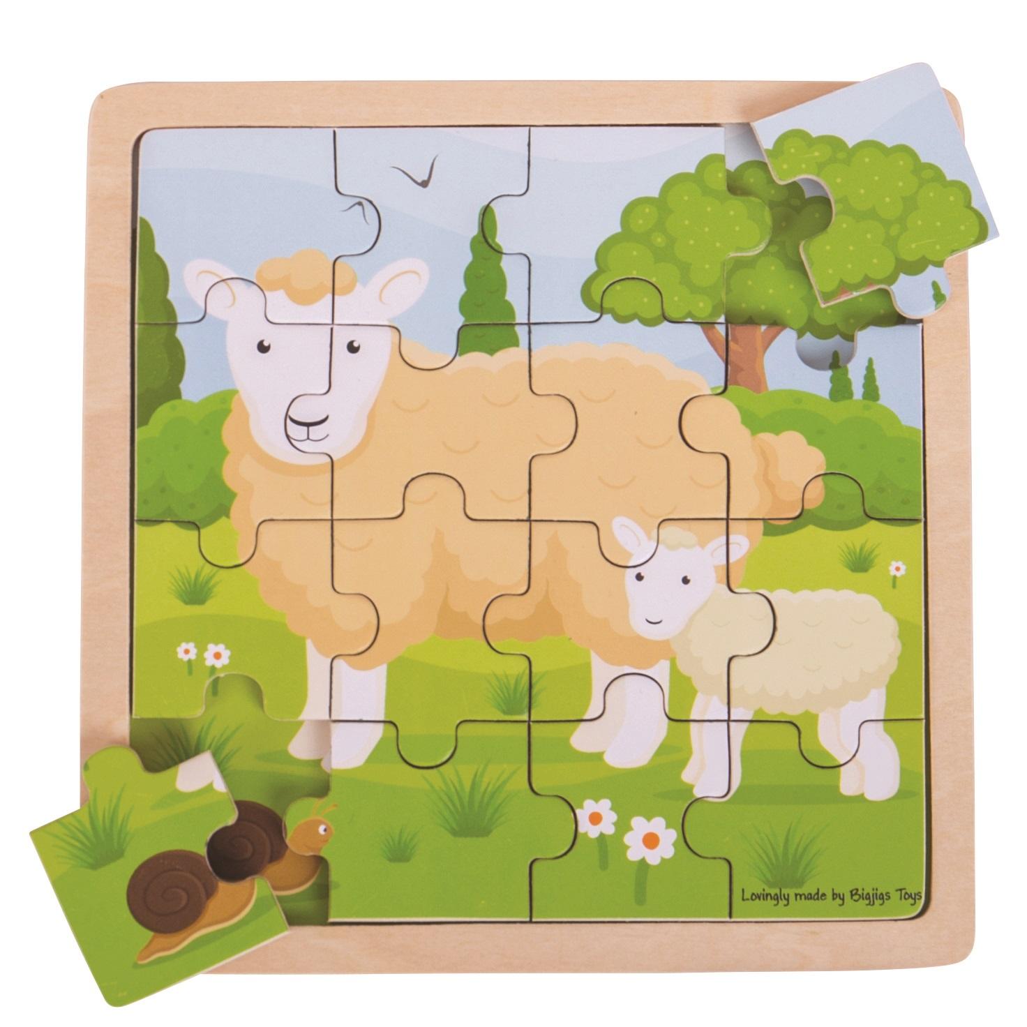 Bigjigs Toys puzzle - Ovečka s jehňátkem