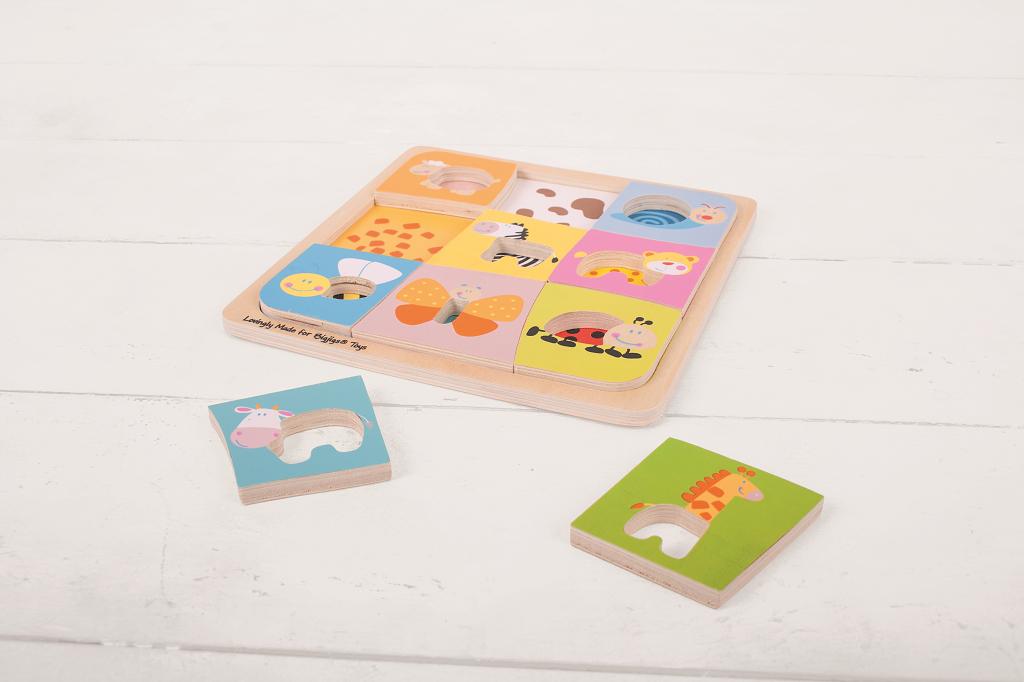 Dřevěné vkládací puzzle - 9 zvířátek