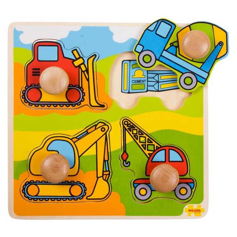 Dřevěné hračky - Vkládací puzzle - Stavební stroje