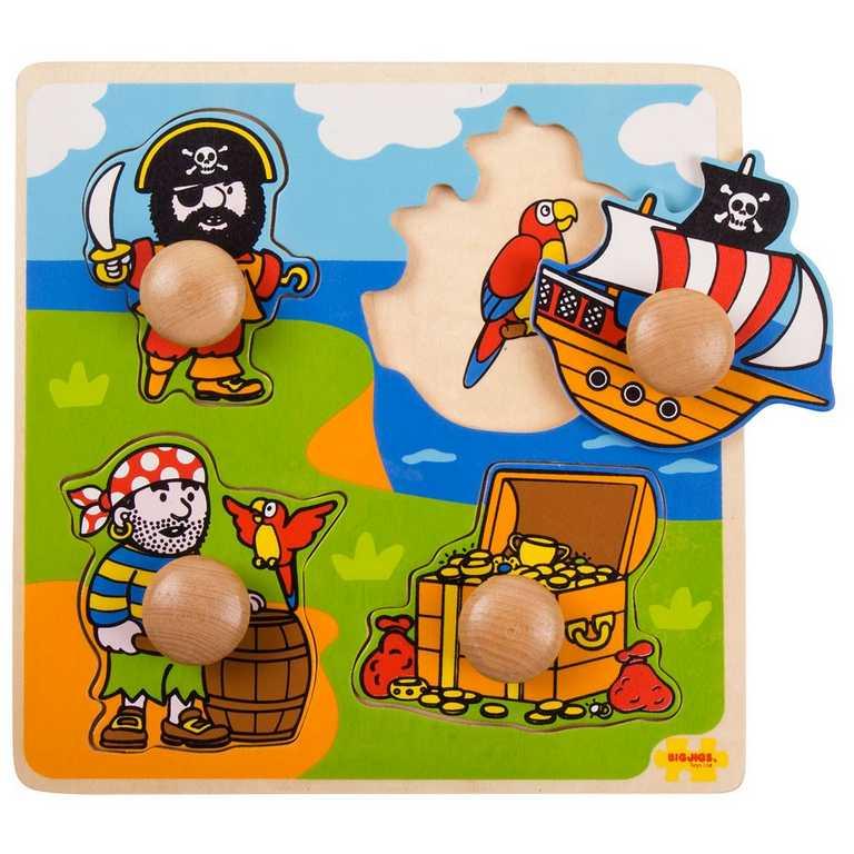 Dřevěné hračky - Vkládací puzzle - Piráti