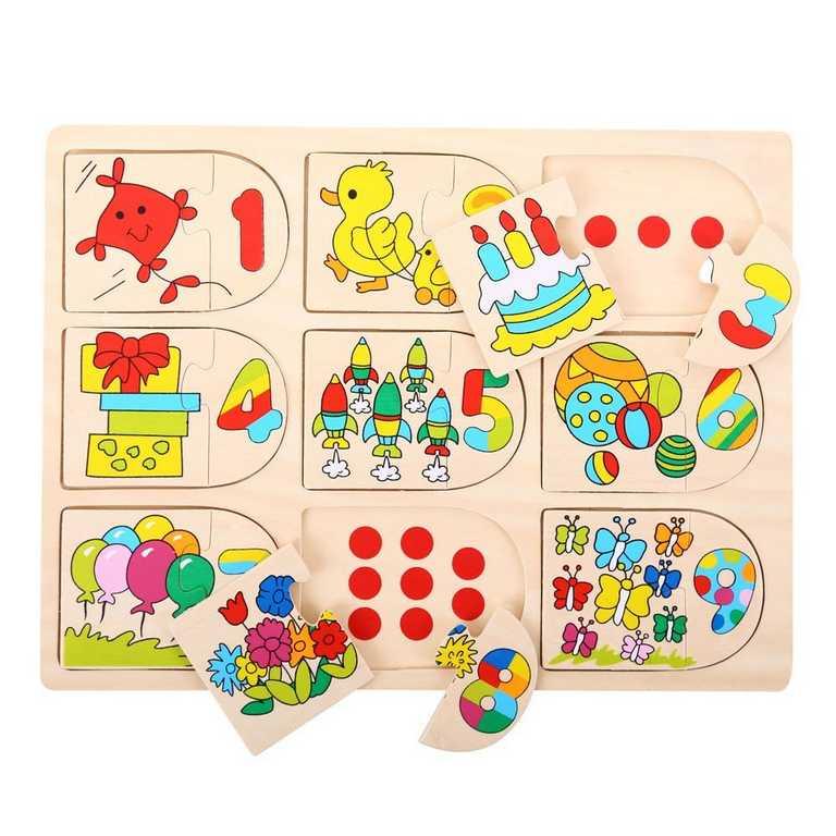 Dřevěná motorická a vzdělávací hračka - Počítací puzzle