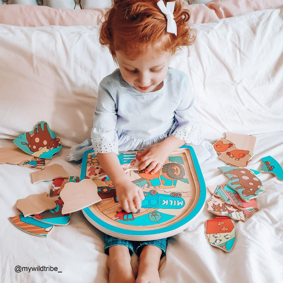 Bigjigs dřevěné vícevrstvé puzzle Farma