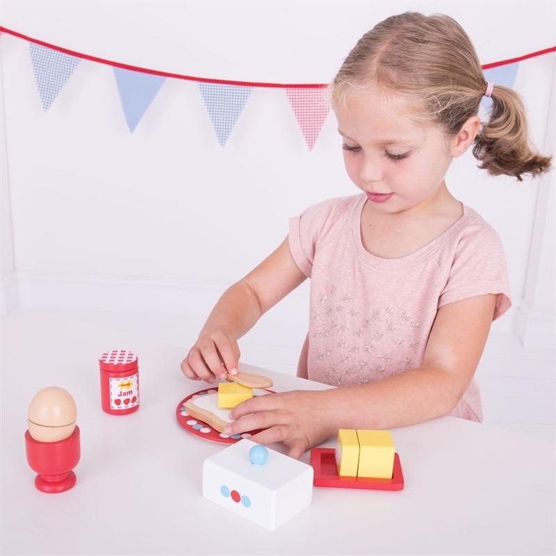 Bigjigs Toys Dřevěný set snídaně s puntíky