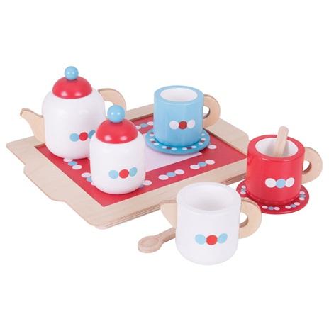 Bigjigs Toys Dřevěné hračky - Čajový servis s puntíky