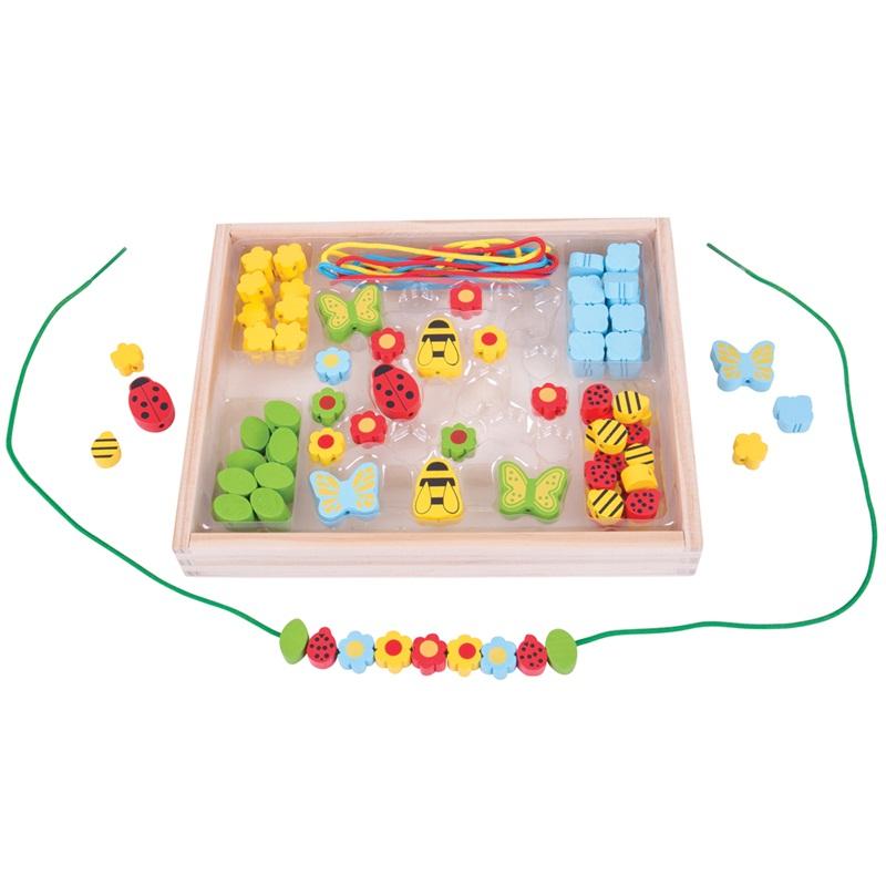 Bigjigs Toys Dřevěné navlékací korálky Louka