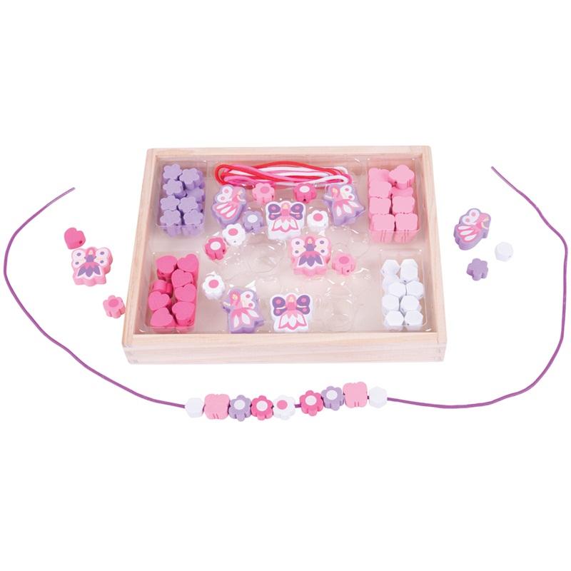 Bigjigs Toys Dřevěné hračky - Navlékací korálky Víly